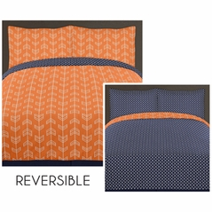 Orange and Navy Arrow 3pc Full / Queen Bedding Set by Sweet Jojo Designs