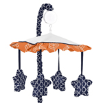 Orange and Navy Arrow Musical Baby Crib Mobile by Sweet Jojo Designs