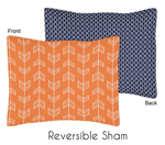 Orange and Navy Arrow Pillow Sham by Sweet Jojo Designs