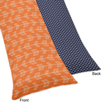 Orange and Navy Arrow Print Full Length Double Zippered Body Pillow Case Cover
