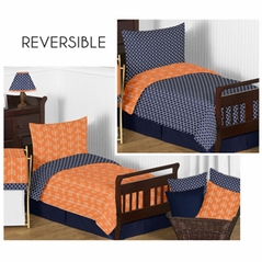 Orange and Navy Arrow Toddler Bedding - 5pc Set by Sweet Jojo Designs