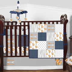 Orange, Navy Blue, Grey and White Woodland Forest Fox Patch Baby Bedding - 9pc Crib Set by Sweet Jojo Designs
