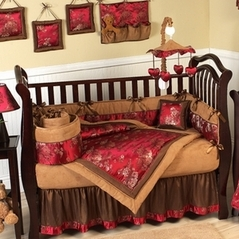 Oriental Garden Asian Baby Bedding - 9 pc Brocade Crib Set