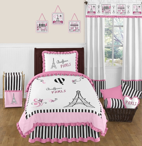 Paris 4pc Childrens and Kids Twin Bedding Set by Sweet Jojo Designs - Click to enlarge