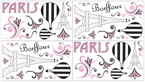 JoJo Designs Paris Baby, Childrens and Kids Wall Decal St...