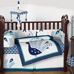 Peacock Baby Bedding - 9pc Girls Crib Set by Sweet Jojo Designs