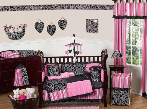 Pink and Black Madison Girls Boutique Baby Bedding - 9 pc Crib Set - Click to enlarge
