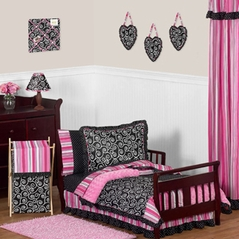 Pink and Black Madison Girls Boutique Toddler Bedding - 5pc Set
