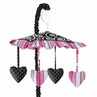 Pink and Black Madison Musical Baby Crib Mobile by Sweet Jojo Designs