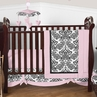 Pink and Black Sophia Crib Bedding - 4pc crib set
