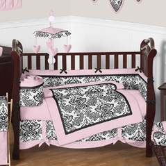 Pink and Black Sophia Crib Bedding - 9pc crib set