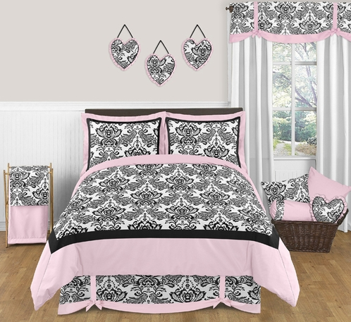 Pink and Black Sophia Teen Bedding - 3 pc Full / Queen Set - Click to enlarge