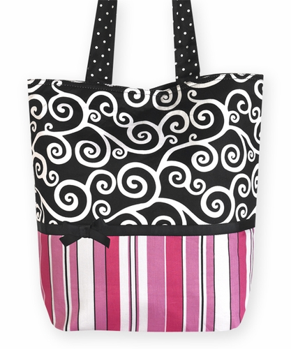 Pink and Black, Stripes and Scroll Print Tote Handbag (Great for Diaper Bag, Tote Bag, Purse or Beach Bag) - Click to enlarge