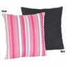 Pink and Black Stripes/Dots Madison Decorative Accent Throw Pillow