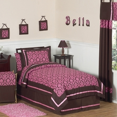 Pink and Brown Bella Children's and Teen Bedding - 4 pc Twin Set