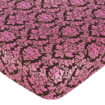 Pink and Brown Bella Fitted Crib Sheet for Baby and Toddler Bedding Sets by Sweet Jojo Designs - Damask Print