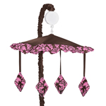 Pink and Brown Bella Musical Baby Girl Crib Mobile by Sweet Jojo Designs