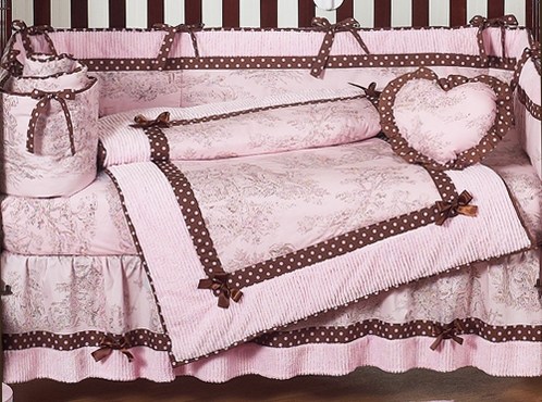 pink and brown toile baby bedding 2