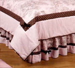 Pink and Brown French Toile and Polka Dot Queen Bed Skirt by Sweet Jojo Designs