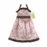 Pink and Brown French Toile Baby Dress by Sweet Jojo Designs