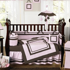 Pink and Brown Hotel Modern Baby Bedding - 9 pc Crib Set