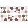 Pink and Brown Mod Dots Baby, Childrens and Teens Wall Decal Stickers - Set of 4 Sheets
