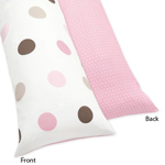 Pink and Brown Mod Dots Full Length Double Zippered Body Pillow Case Cover by Sweet Jojo Designs