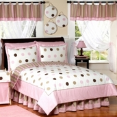 Pink and Brown Modern Dots Teen Bedding - 3 pc Full / Queen Set