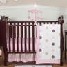 Pink and Brown Modern Polka Dot Baby Bedding - 11pc Crib Set