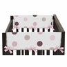 Pink and Brown Modern Polka Dots Baby Crib Side Rail Guard Covers by Sweet Jojo Designs - Set of 2
