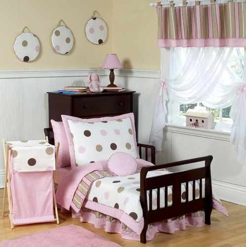 Pink and brown modern polka dots toddler bedding 5pc set click to