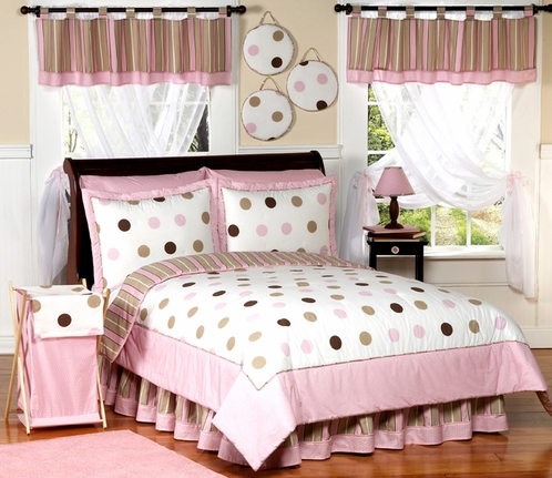 Pink and Brown Modern Dots Teen Bedding - 3 pc Full / Queen Set - Click to enlarge