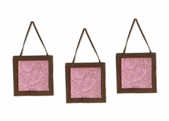Pink and Brown Paisley Girls Wall Hangings