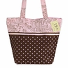 Pink and Brown Polka Dot and French Toile Handbag (Great for Diaper Bag, Tote Bag, Purse or Beach Bag)