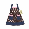 Pink and Brown Polka Dot Blue Jean Baby Girls Dress by Sweet Jojo Designs