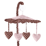 Pink and Brown Toile and Polka Dot Girls Musical Crib Mobile by Sweet Jojo Designs