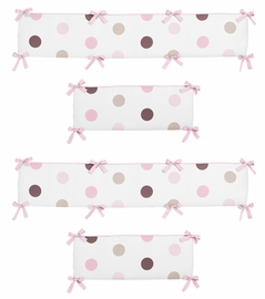 Pink and Chocolate Mod Dots Collection Crib Bumper by Sweet Jojo Designs