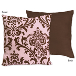 Pink and Chocolate Nicole Decorative Accent Throw Pillow by Sweet Jojo Designs
