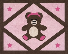 Pink and Chocolate Teddy Bear Accent Floor Rug