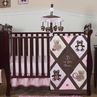 Pink and Chocolate Teddy Bear Baby Girls Bedding - 11pc Crib Set