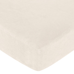 Pink and Chocolate Teddy Bear Fitted Crib Sheet for Baby and Toddler Bedding Sets by Sweet Jojo Designs - Cream Microsuede