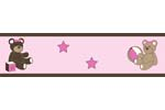 Pink and Chocolate Teddy Bear Girls Baby and Kids Wall Border by Sweet Jojo Designs