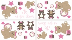 Pink and Chocolate Teddy Bear Girls Baby and Kids Wall Decal Stickers - Set of 4 Sheets