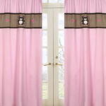 Pink and Chocolate Teddy Bear Girls Window Treatment Panels - Set of 2
