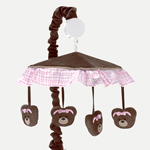 Pink and Chocolate Teddy Bear Musical Baby Crib Mobile by Sweet Jojo Designs