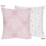 Pink and Gray Alexa Butterfly Decorative Accent Throw Pillow by Sweet Jojo Designs