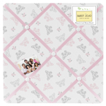Pink and Gray Alexa Butterfly Fabric Memory/Memo Photo Bulletin Board