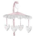 Pink and Gray Alexa Butterfly Musical Baby Crib Mobile by Sweet Jojo Designs