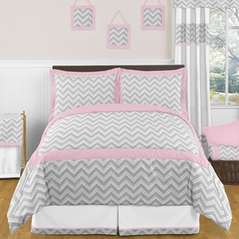 Pink and Gray Chevron Childrens and Kids Bedding - 3pc Full / Queen Set by Sweet Jojo Designs
