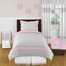 Pink and Gray Chevron Childrens and Kids Bedding - 4pc Twin Set by Sweet Jojo Designs